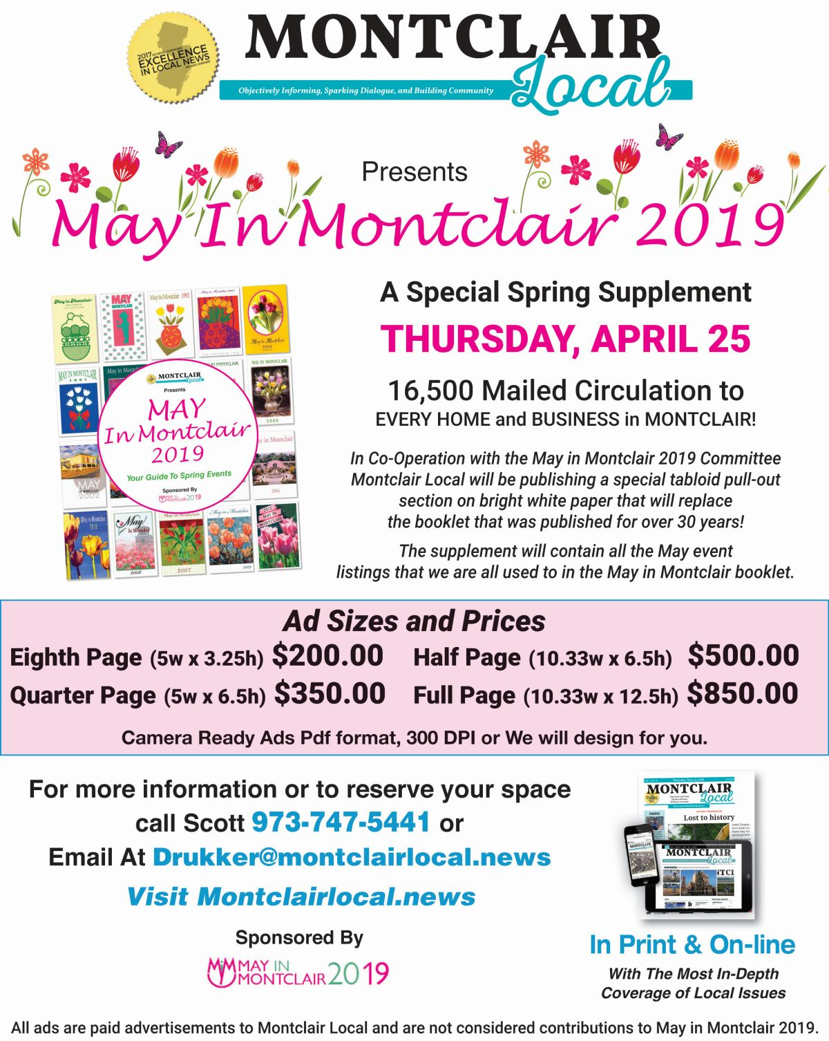 Montclair Local is printing the 2019 May in Montclair Calendar of Events. Advertise in the special supplement to reach all 16,500 households and businesses in Montclair.
