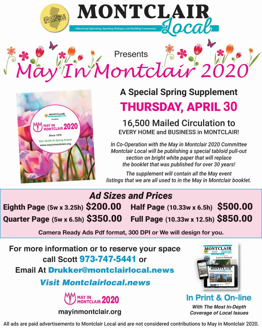 Montclair Local is printing the 2020 May in Montclair Calendar of Events. Advertise in the special supplement to reach all 16,500 households and businesses in Montclair.